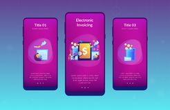 E-invoicing app interface template. Clients with magnifier get e-invoicing and pay bills online. E-invoicing service, electronic invoicing, e-billing system and royalty free illustration