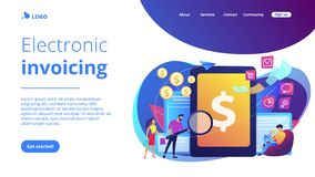E-invoicing concept landing page. Clients with magnifier get e-invoicing and pay bills online. E-invoicing service, electronic invoicing, e-billing system and e vector illustration