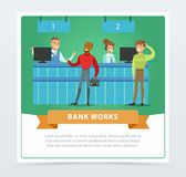 Clients and managers at the bank office, bank works banner for advertising brochure, promotional leaflet poster. Presentation flat vector element for website Stock Images