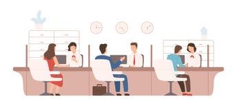 Clients masculins et féminins s'asseyant et parlant aux directeurs ou aux analystes du service du crédit Fourniture de travailleu illustration stock
