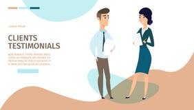 Clients Testimonials Cartoon Vector Web Banner royalty free illustration