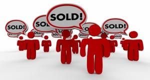 Clients vendus d'affaire fermés par bulle de la parole de personnes illustration de vecteur