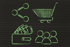 Clients, wallet, shopping cart and sharing button: behavioral an. Customer behavior and analysing big data for marketing: clients, wallet, shopping cart and Stock Photo