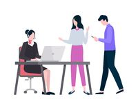 Woman Working in Company Dealing with Clients stock illustration