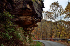 Clif over the mountain road. Clif over the road in in the mountains of West Virginia Stock Images