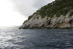 Clif and sea. On mallorca island Royalty Free Stock Image
