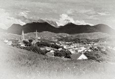 Clifden, Co.Galway, Ireland. Toned photo of Clifden, Co.Galway with Twelve Bens in background royalty free stock images