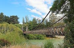 Clifden upphängningbro över den Waiau floden Royaltyfri Bild