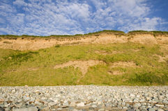 Cliff. A cliff on a stony beach in Wales royalty free stock photos