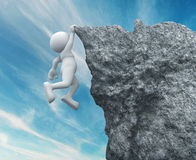 Cliff. 3d people - human character ,  person hanging from a cliff .  3d render illustration Stock Photography