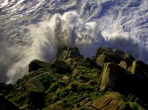 Cliff. Strong storm on the coast of galicia Stock Photos