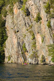 Cliff. High cliff at shore of Mazinaw Lake in sunset light Royalty Free Stock Photos