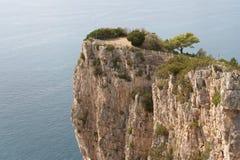 Cliff. Italy, Gaeta. The mountain Orlando. Tyrrhenian Sea. Viewing platform at top of cliff Stock Photo