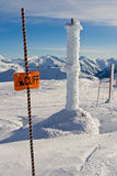 Cliff Ahead. Signage found on the ski resort royalty free stock photos
