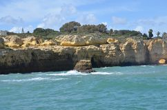 Cliff at Albufeira !. Seen on the boat trip Stock Photography