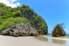 Cliff along the beach at Krabi Royalty Free Stock Images