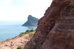 Cliff along the Chapman's Peak path. Towards Hout Bay Stock Image