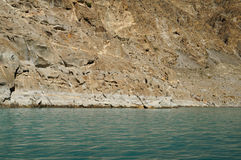 Cliff of Attabad Lake in Northern Pakistan Royalty Free Stock Images