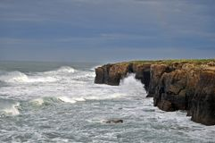 Cliff with awesome Wild Sea. Cliff with awesome Beach Wild Sea, on Galicia, Asturias, Spain royalty free stock image