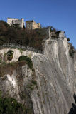 Cliff and Bastille. The Bastille is the name of a fortress culminating at 476 m at the south end of the Chartreuse mountain range, overlooking the city of royalty free stock photos