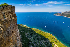 Cliff in the bay of Cote d`Azur royalty free stock photos