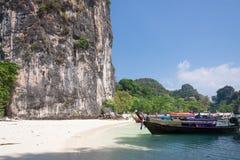 Cliff beach boat and sky at  Phuket,Thailand Royalty Free Stock Image