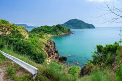 Cliff Beach Landscape. The landscape of the cliff beach with small islands in the distance, Rayong, Thailand royalty free stock photography