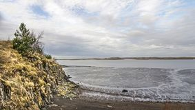 Cliff, beach and mudflats royalty free stock image