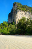 Cliff on beautiful Railay beach Stock Photography