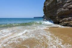 Cliff in the Beliche beach, Sagres, Portugal Stock Photos