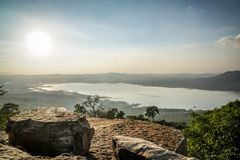 On A Cliff. On a big cliff with sunlight in Thailand Royalty Free Stock Images