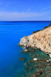 Cliff blue sea Lefkada Greece Royalty Free Stock Images