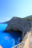 Cliff with blue sea Lefkada Stock Photo