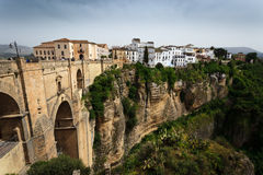 Cliff, bridge, and city Tajo Gorge at Ronda, Spain Stock Photo