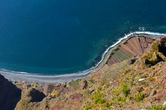 The cliff of Cabo Girao  seen  from viewpoint Royalty Free Stock Photos
