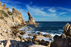 Cliff at Cape Laplas. Royalty Free Stock Photography