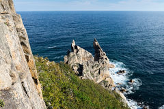 Cliff at Cape Laplas. Royalty Free Stock Photo