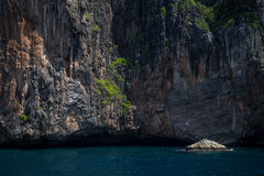Cliff and the clear sea Phi Phi islands south of Thailand. Phi phi high rocks islands. Stock Photo