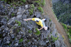 Cliff Climbing in Oregon. Cliff Climbing on Saddle Mountain, Oregon Stock Photography
