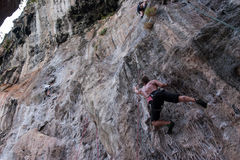 Cliff climbing at Rallay beach Stock Photo