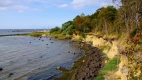 The cliff coast on the island of Poel stock footage