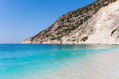 Cliff coast at the Myrtos beach on Kefalonia island Stock Image
