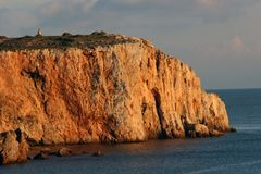 Portugal - Cliff on the Coast of Portugal. Cliff on the Coast of Portugal in the evening sunset Royalty Free Stock Photo