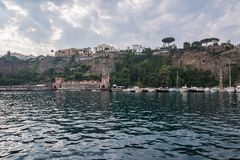 Cliff coast in Sorrento town a cloudy morning Royalty Free Stock Photography