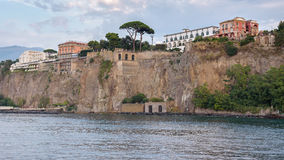 Cliff coast in Sorrento town at dusk Stock Photography