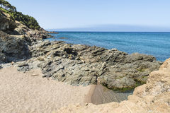 Cliff on the Costa Brava, Catalonia, Spain Stock Photo