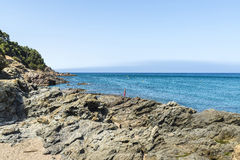 Cliff on the Costa Brava, Catalonia, Spain Royalty Free Stock Photography