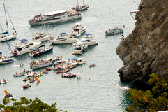 Cliff Diving. Yalta – September, 4, 2011: finale of international competitions of athletes on Cliff Diving  in high 27 m,     September 4, 2011, Yalta, Swallow Royalty Free Stock Images