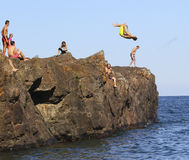 Cliff Diving in Marquette, Michigan Royalty Free Stock Photos