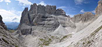 Cliff in Dolomites Mountain stock photo